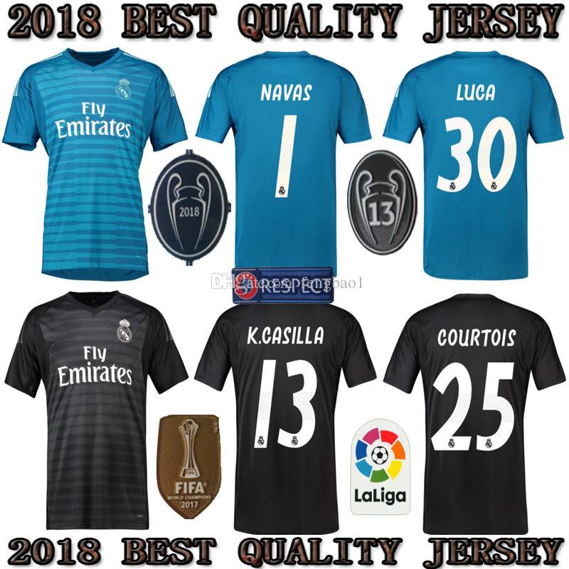 Camisetas De Fútbol De Portero Del Real Madrid 2019 18 19 Camiseta De  Fútbol Azul Del Portero NAVAS   1 Del Real Madrid   1 Camiseta De Uniformes  De Fútbol ... 1a88a570a452d