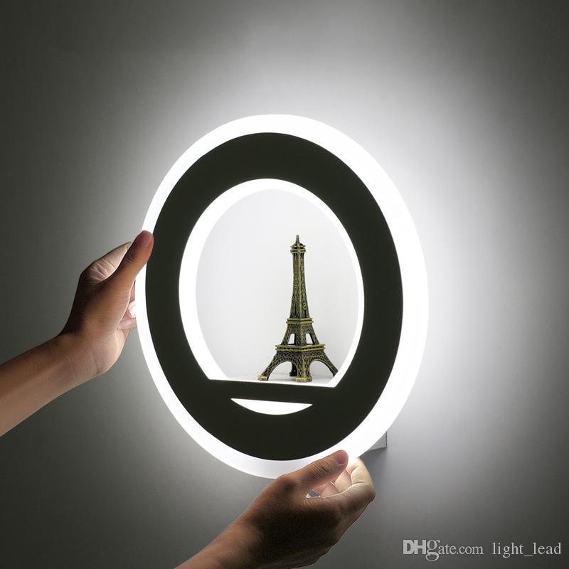 19W Applique murale à LED AC85-265V mur Mouted Paris Tour Applique ronde en acrylique d'intérieur Lampe décorative pour Foyer Chambre Étude