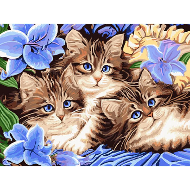 0527zc180 Home Wall Furniture Decorations Diy Number Painting Children Three Cats Painting By Numbers