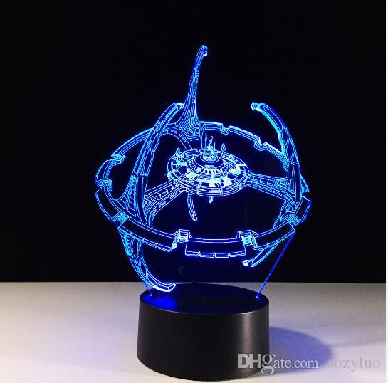 Novelty 3D Bulbing Night Light Star Trek Death Star Millennium Falcon LED Glowing Home Office Adults Children's Birthday Holiday Gif