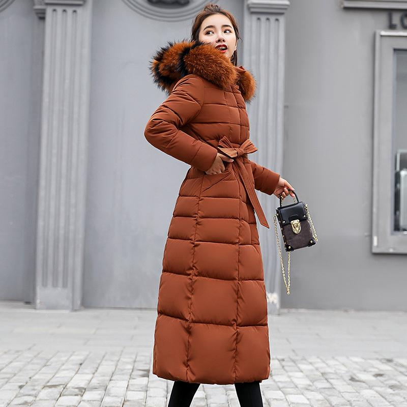 8e919c847276a 2019 Plus Size Thicken Fur Collar Long Quilted Women Parkas Hooded Bow Tie  Sashes Female Puffer Jackets 2018 Winter Windproof Coats From Yukime