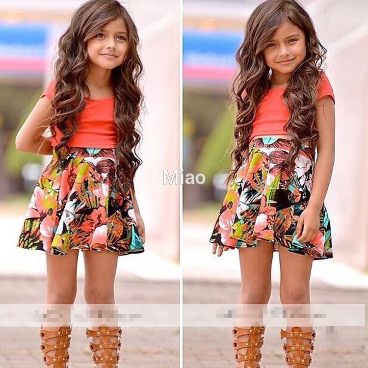 Baby Dress Girls para niños venta caliente camisa + falda de la flor 2-Pedazos 2-8Y Trajes Set 2020 nuevos llegan