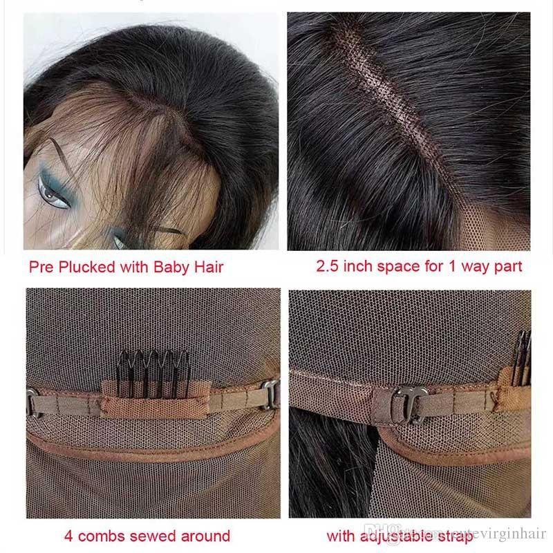 Pelucas delanteras del cordón del pelo humano brasileño pre desplumado para las mujeres negras Onda del cuerpo / Onda floja Pelucas naturales de la rayita Color natural Artículos superventas
