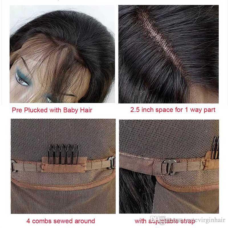 Pre gerupft brasilianisches Menschenhaar Lace Front Perücken für schwarze Frauen Körperwelle / lose Welle natürlichen Haaransatz Perücken natürliche Farbe Meistverkaufte Artikel