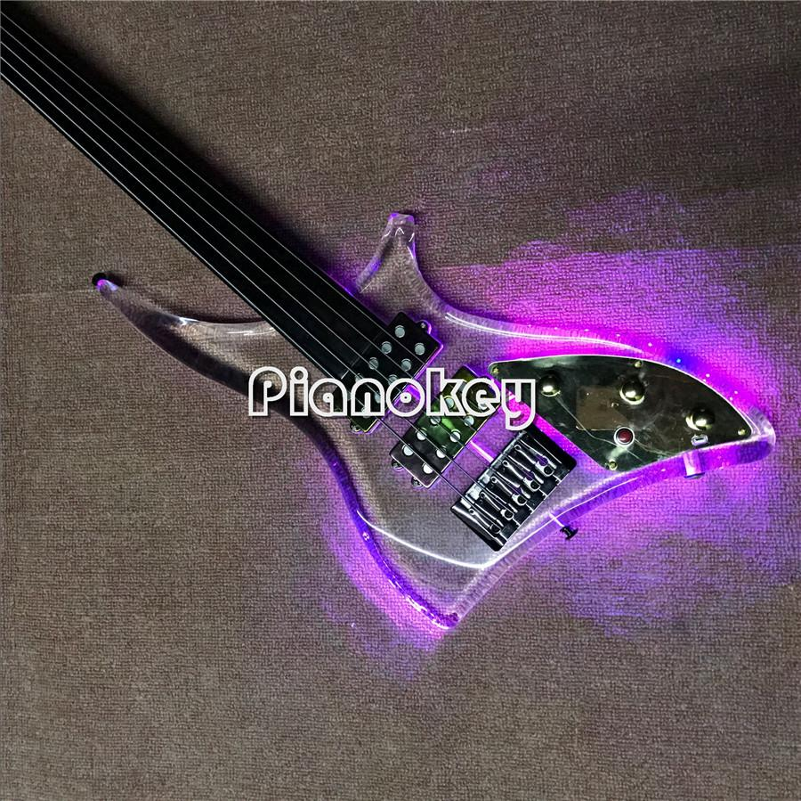 transparent body 5 string bass guitar no fret marker ebony fretboard electric bass guitar with. Black Bedroom Furniture Sets. Home Design Ideas