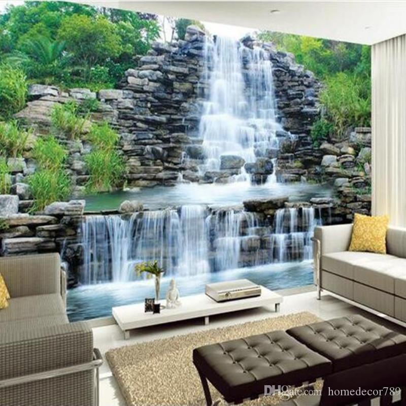Custom 3D Photo Wallpaper Natural Mural Waterfalls Pastoral Style 3D silk wall paper Living Room Sofa Backdrop wallpaper mural