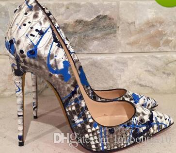 6d65d886811 New Shoes Women Pumps Sexy Graffiti IRed Bottom High Heels Shoes Fashion Blue  Snake Printed Wedding Party Shoes Big Size 33 44 Cheap Shoes For Women  Brown ...
