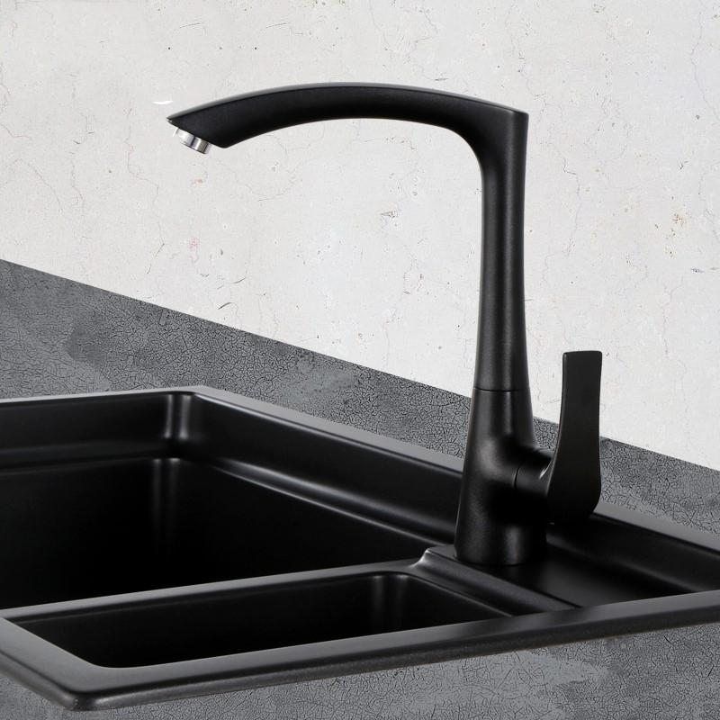 2019 Matte Black White Modern Kitchen Sink Faucet Mixer Tap Single Hole Black Brass Taps With Swivel Arc Square Spout From Goodwork $161.0 | DHgate.Com & 2019 Matte Black White Modern Kitchen Sink Faucet Mixer Tap Single ...
