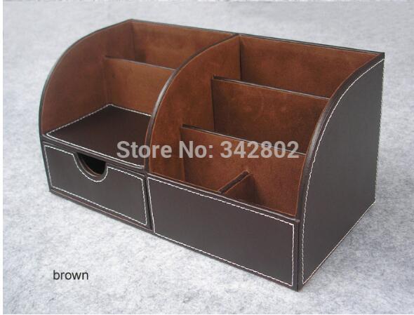 Suministros de oficina de la escuela Accesorios de escritorio Organizador Tenedor de la pluma Leatheelige Material negro y marrón dos colores