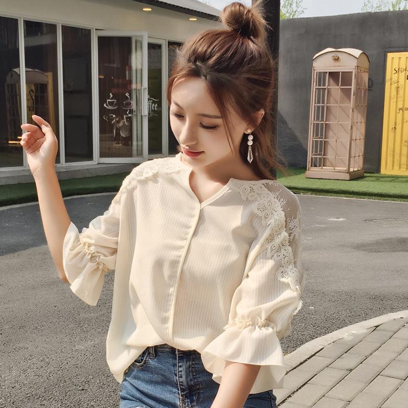 2017 sommer Mode Frauen Shirts Halbe Hülse Lose Spitze Chiffon V-ausschnitt Kurzen Absatz Sets Elegant / kopf Bluse Shirt 737