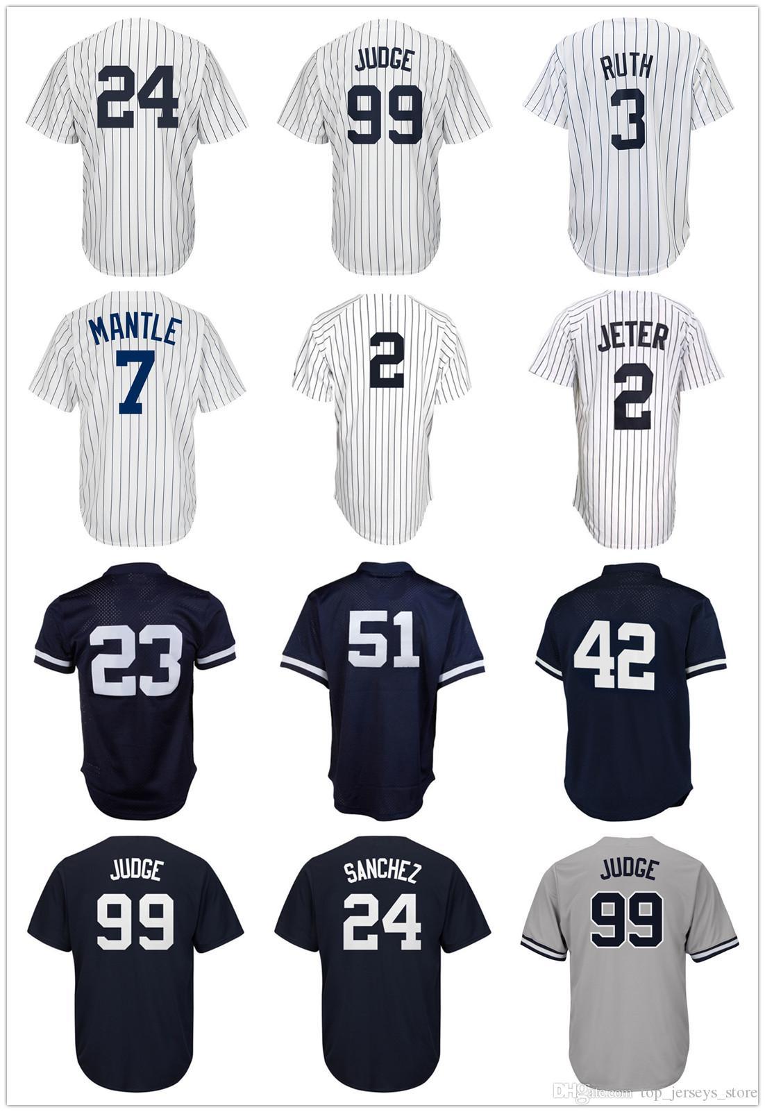 18 High Quality Cheap Men Gary Sanchez Babe Ruth Aaron Judge Jerseys ... b3e3496888b2