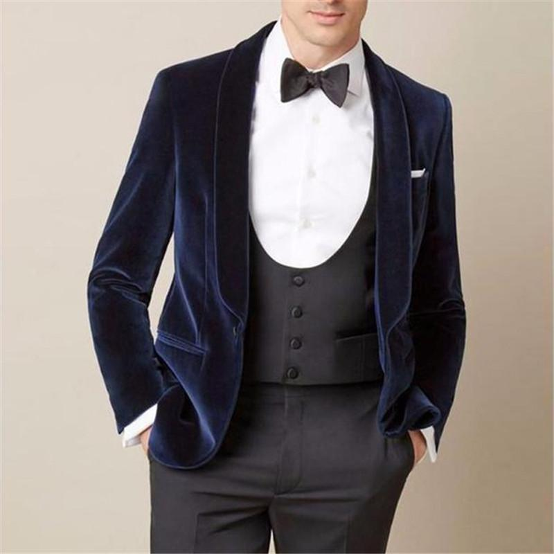 TPSAADE Custom Navy Blue Velvet Men Suit For Wedding Slim Fit Tuxedos Masculino Groom Prom Mens Suits 3pieces(Jacket+Pants+Vest)