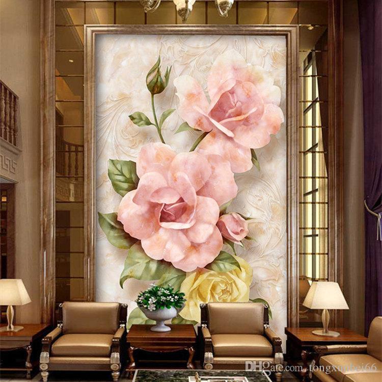 Europe type 3 d mural porch corridor corridor stereo embossed wallpaper background wallpaper rose setting wall reliefs
