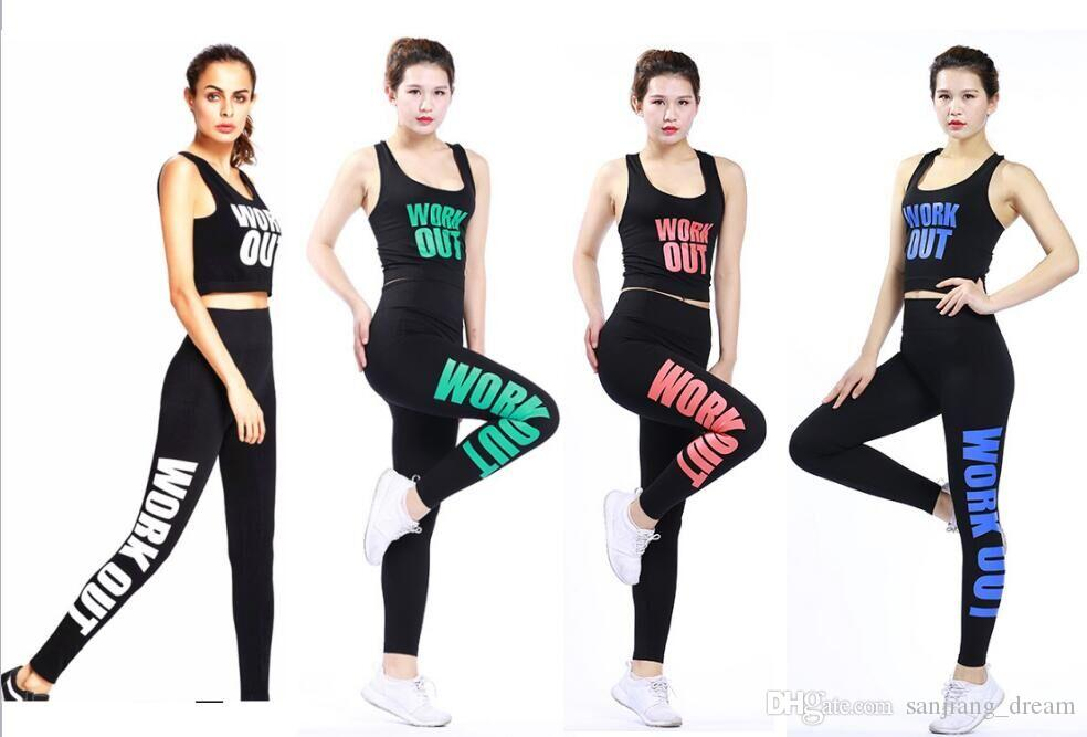 7dc055abf1e76 2019 Workout Women Yoga Suit Tanks Leggings Print Letter Girls Bra Pants  Sports Suits Sexy Camis Tops Leggings Tracksuits Sportwear Gym Outfits From  ...