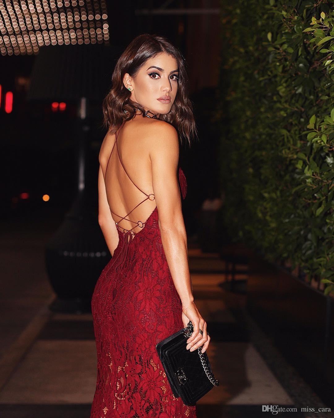 Borgonha Lace Sexy vestidos de cocktail Spaghetti Voltar Criss Partido tiras cruzadas Vestido de Noite Vestuário Curto Dividir Prom Dress