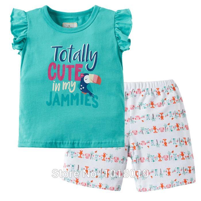 b9b938f4c6628 New 2018 Quality 100% Cotton Summer Baby Girls Clothing Set 2pcs Children  Suit Kids Clothes Short Sleeve Baby Girls Clothes Sets Y1892906