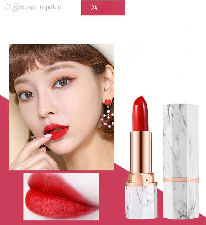 새로운 도착 립글로스 대리석 6 색 립스틱 매트 립스틱 방수 오래 견딘 화장품 dhl 무료 배송