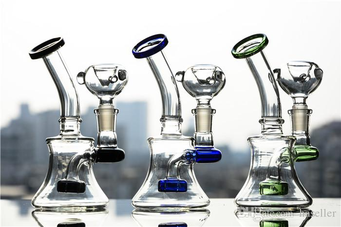 Clear Mini Pocket Glass Bongs Recycler Oil Rigs Glass water Pipes Smoking Pipe Bong Hookahs Shisha 14mm joint 6 inches tall