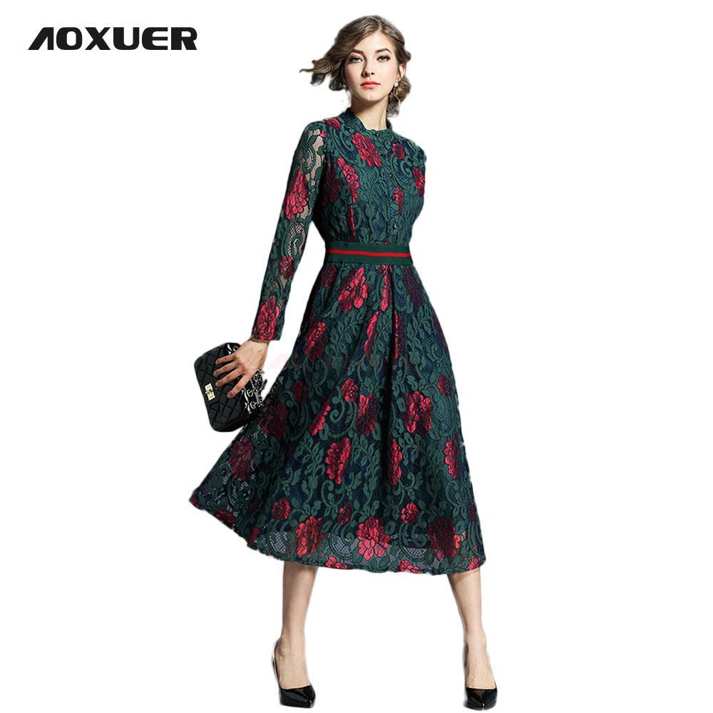 0d7f50354222 2019 AOXUER New 2018 Spring A Line High Street Flower Print Dress Women  Elegant Empire Slim Long Vestido Office Casual Dress B620 From Darnelly