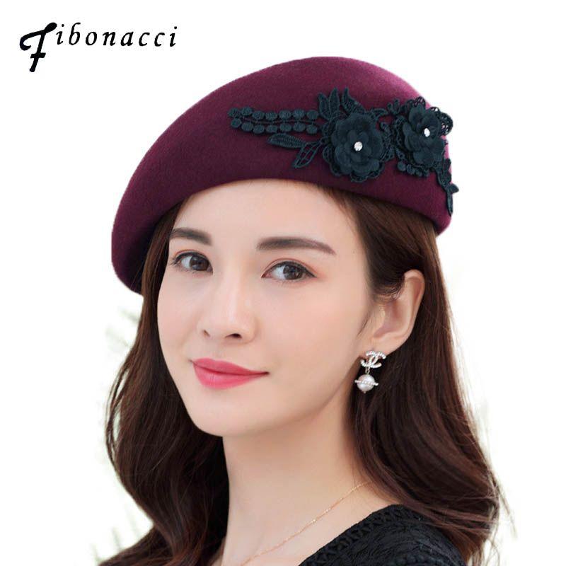 0dc5bd3e6 Fibonacci 2018 New Noble Elegant Women Beret Floral Wool Felt Hat Headdress  Fedora Dinner Party Wedding Berets