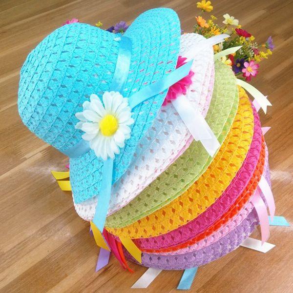 0334aed7 Gorra infantil sombrero para el sol visera niña floral cinta paja gorra  niños verano playa sombrero bebé niñas flor sombreros gorra de calidad ...