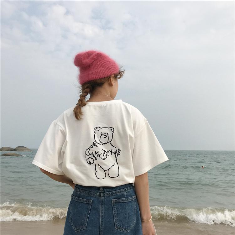 be8d966a7d Compre Ropa De Verano De Estilo Coreano Camiseta Ulzzang Harajuku Lttle  Bordado De Oso Kawaii Manga Corta Camisetas Mujer Niñas Camiseta Top A   23.34 Del ...