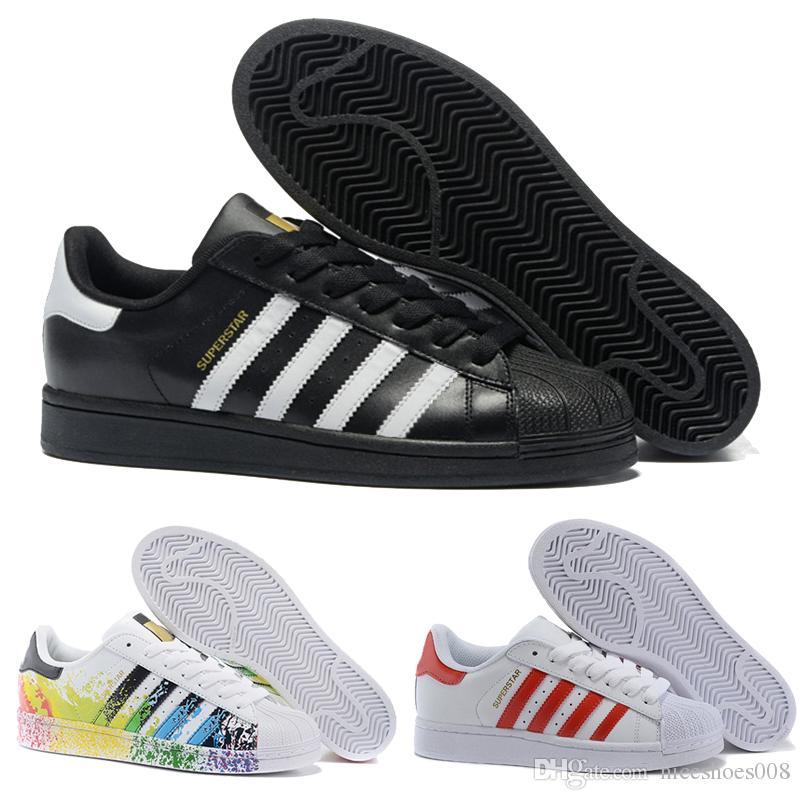 new style a494a 1be71 2018 Hot Cheap Adidas Superstar 80S Hombres Mujeres Casual Zapatos De Baloncesto  Skate Shoes Rainbow Splash Ink Moda Zapatos Deportivos Tamaño Eur 36 44 Por  ...