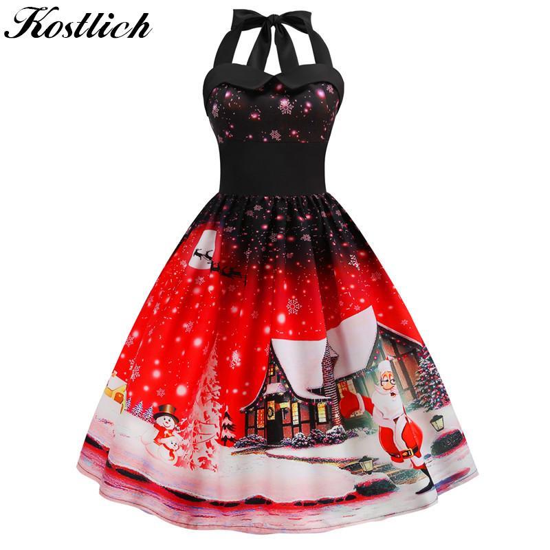 Kostlich 2018 Halter Bow Big Swing Autumn Winter Christmas Dress Hepburn  1950s Vintage Dress Evening Party f78d332ce8c0