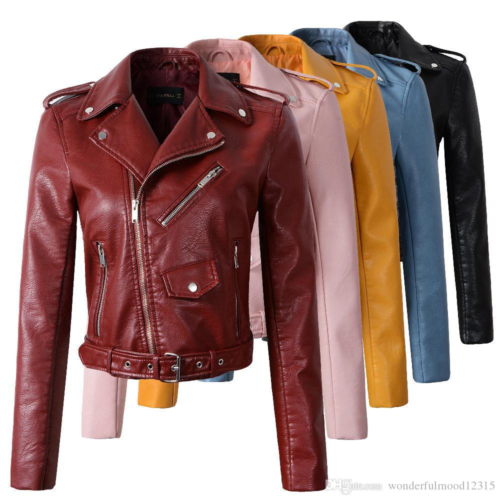 16d18e16a New Fashion Women Autunm Winter Wine Red Leather Bomber Jackets Lady  Motorcycle Cool Outer Coat With Belt Hot Sale
