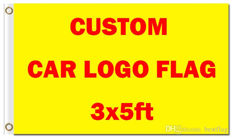 Wholesale Digital Printing Customized Car Logo Flag 3x5 ft 100D Polyester  Banners with Two Metal Grommets