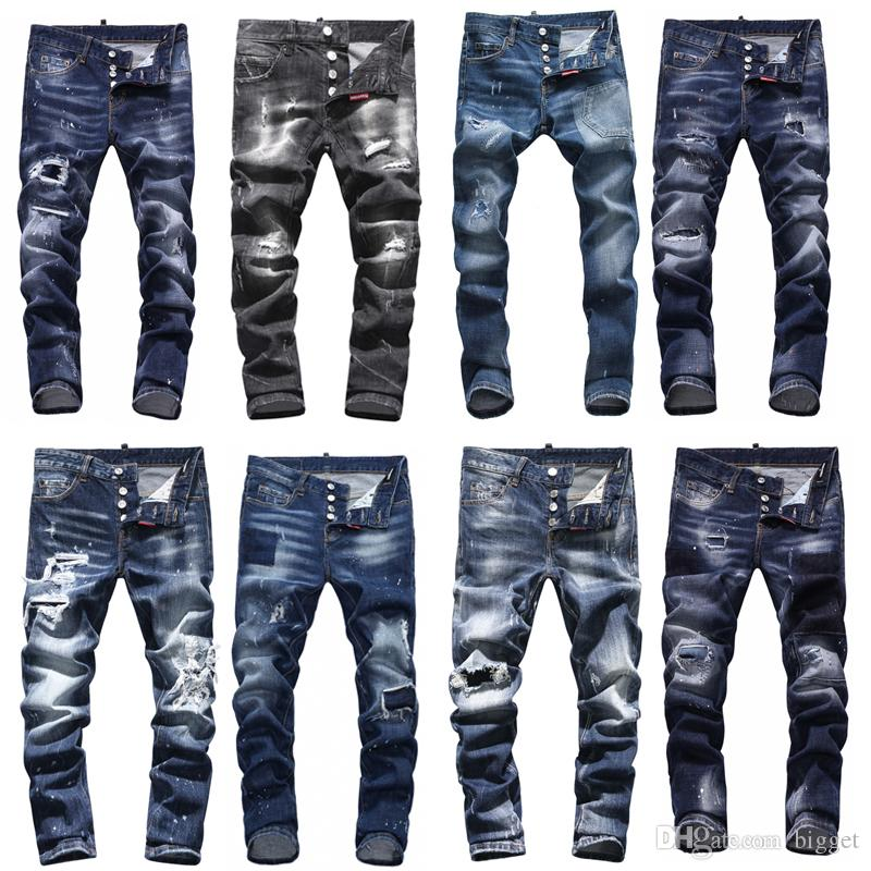 dec4cf699b9 2019 Cool Guy Jeans Damage Painted Effect Worn Bleach Skinny Fit Denim  Pants Man Design Destroyed Cowboy Trousers From Bigget