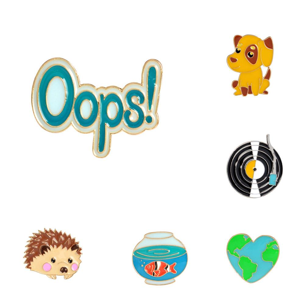 Cute Hedgehog/Dog/Record/Goldfish/Oops Design Metal Brooches Pins Hats Clips Enamel DIY Lovely Cartoon Gift