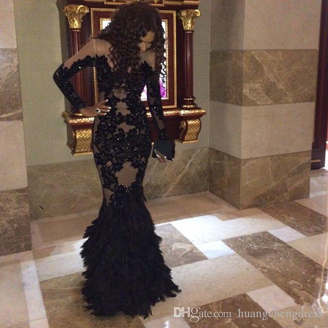 Vestidos de fiesta de lujo con plumas negras y mangas largas Sheer Champange Vestidos de noche árabes Vestidos formales con sirena de tul real Más tamaño