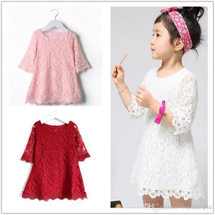 2016 New Kids Beautiful White Girls Toddler Baby Lace Princess Party Dresses Solid Party Brief Casual Dress Child Clothes Fashion