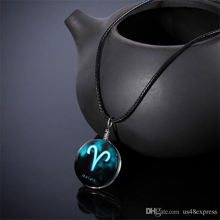 Hot sale 12 constellations Time Gems Necklace Pendant Zodiac Jewelry for Friends Best magic Christmas Birthday Gifts Wholesale