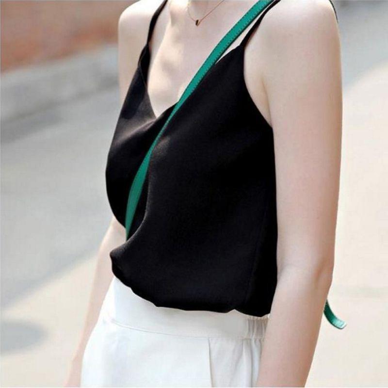 a1588131717ad 2019 Chiffon Tank Top Women Summer Loose Top Black White Grey Blue ...