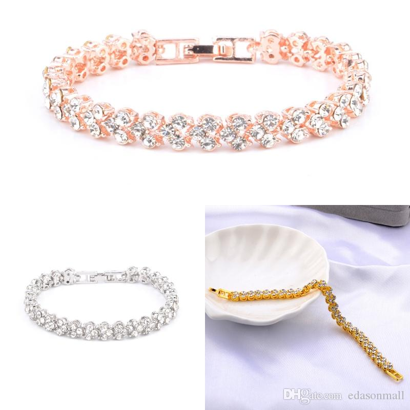 069a9431e1ea 3 Styles Simple Women Fashion Roman Style Crystal Diamond Bangle Bracelets  Elegant Charm Rhinestone Bracelets Gifts D951Q