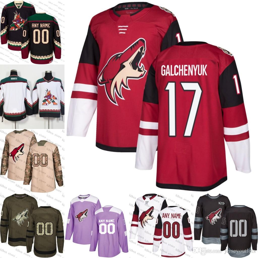 release date: a0fc7 b8221 2018-2019 Men s Arizona Coyotes 17 Alex Galchenyuk Ice Hockey Jersey purple  black white army green 100th flat usa women youth size S-3XL