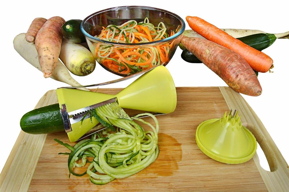 Stocked Spiral Slicer Spiralizer Vegetable Cutter Carrot Noodle Julienne Grater Veggie Spaghetti Pasta Maker Salad Maker Christmas Gift
