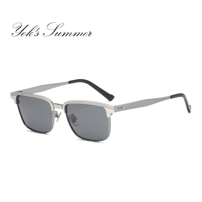 ea0b3625e7 Compre Gafas De Sol Polarizadas De Yok Metal Medio Marco Cuadrado Gafas De  Sol De Doble Color Para Hombres Marca Gafas De Espejo De Conducción Vintage  Gafas ...