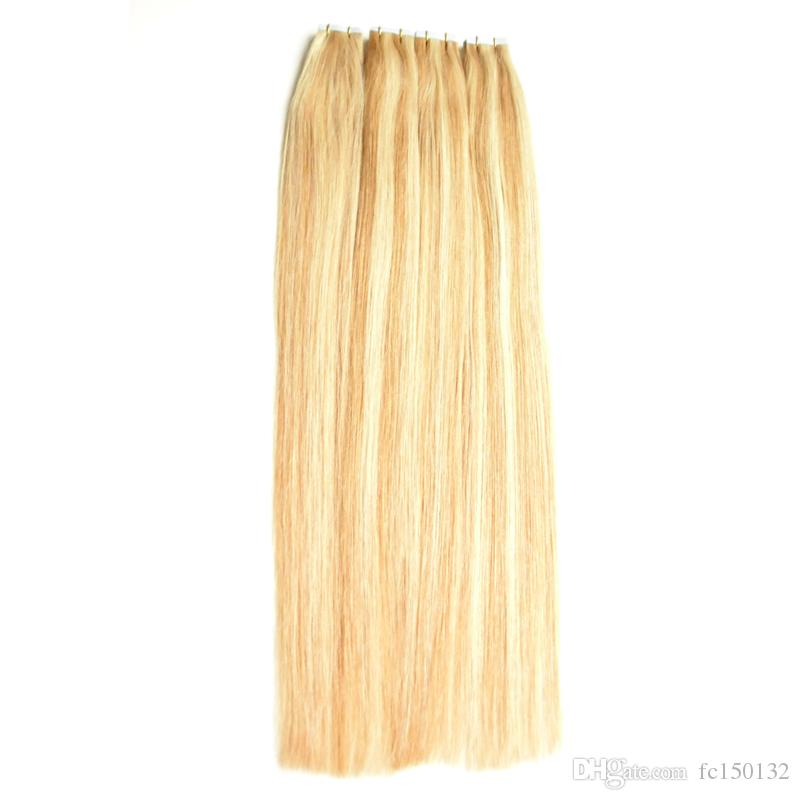 Skin Weft P27 / 613 Piano Color Tape In Hair Straight 80 шт. Машина изготовлена ​​Remy Hair On Adhesives Двусторонняя лента для наращивания волос 200 г