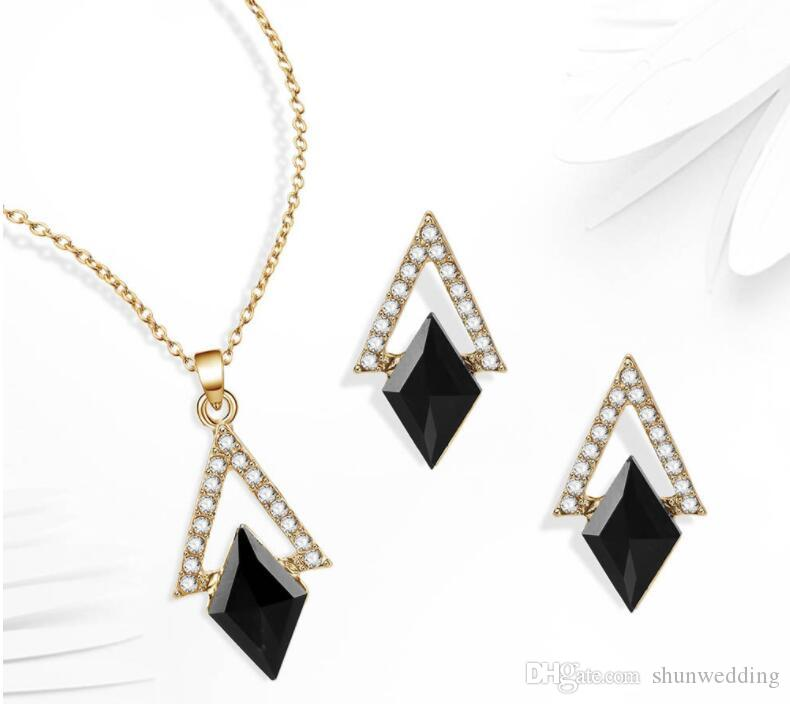 New Black Crystal Earrings Necklaces Sets Gold Color Jewelry Sets for Women Geometric Design Wedding Jewelry