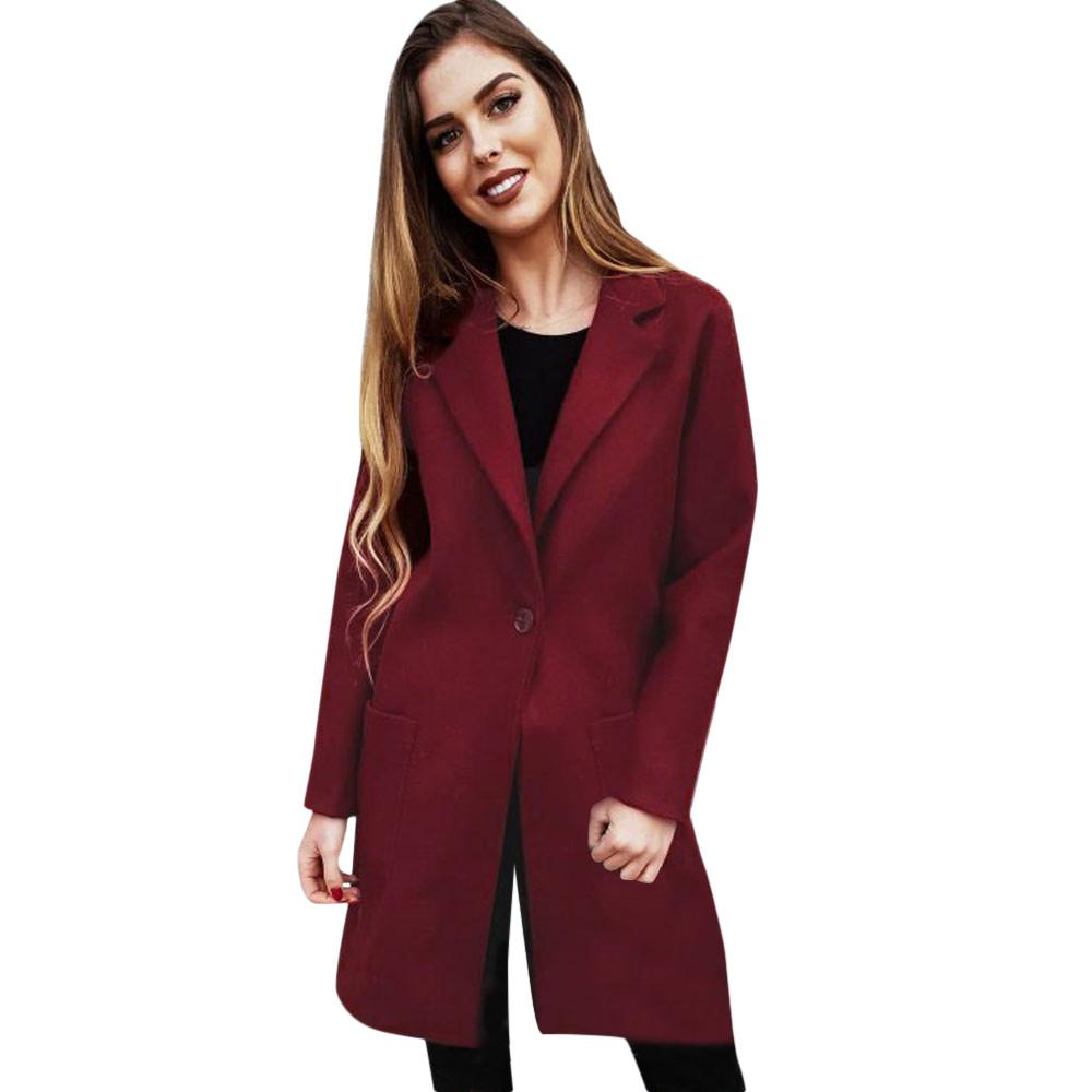 official photos 7374b 659db FeiTong Wollmischung Frauen Mantel Solide Sexy Winter Warme Taste Mantel  Strickjacke Outwear Jacke Lange Frau Winter 2018