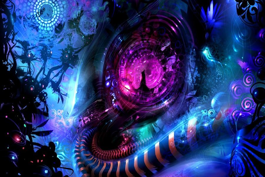 psychedelic trippy abstract art silk poster online with 14 21 piece