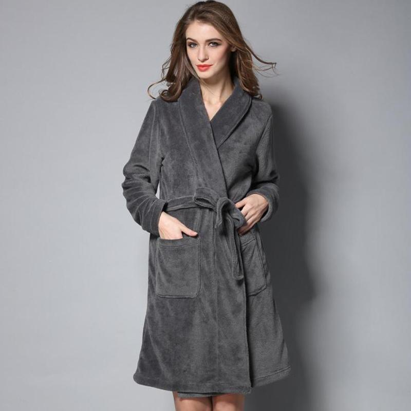 2019 Hot Selling Women Warm Long Bathrobe Coral Fleece Winter Nightgowns  Men Kimono Bath Robe Lovers Dressing Gown Lounge Sleepwear From Macloth 0ec38a5d3