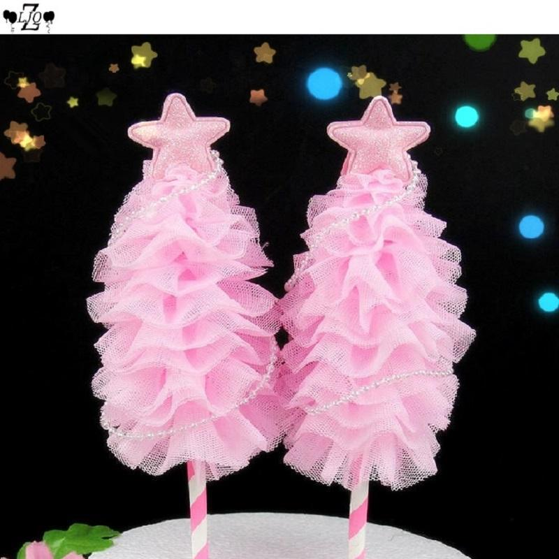 2019 Zljq Happy Birthday Christmas Tree Star Cake Topper Cupcake