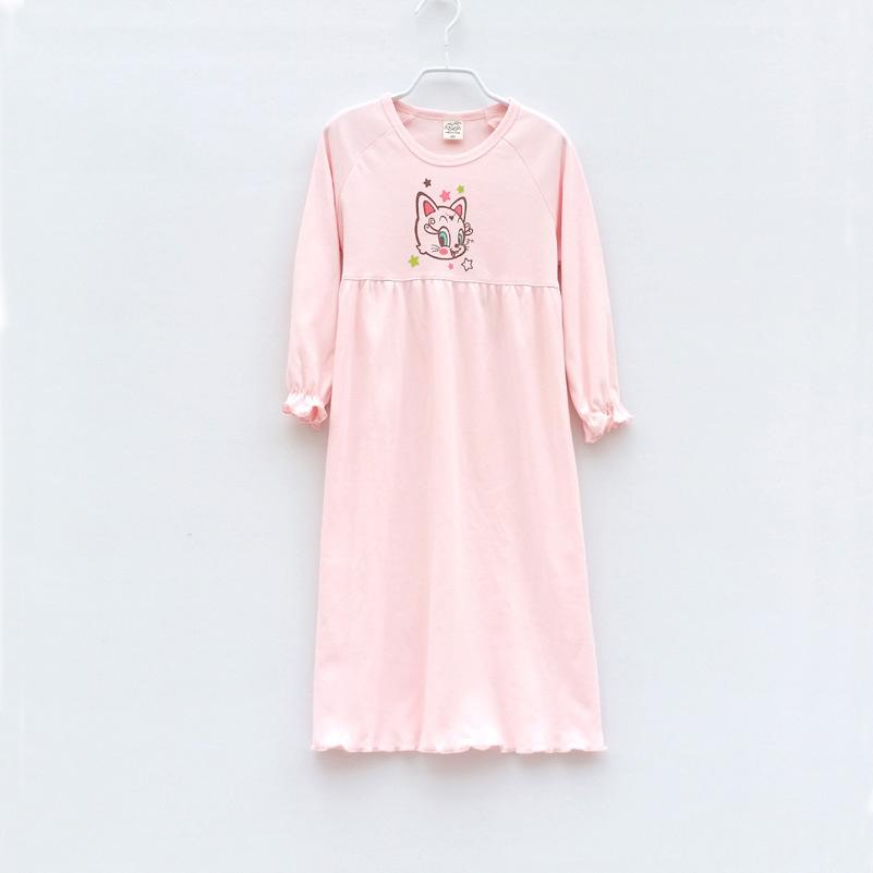 Childrens Girls New Cotton Long Sleeves Nightdress Summer Pijama ...