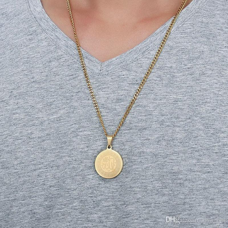 Mens Necklace Round Shaped 29mm Wide Gold Plated Surgical Stainless Steel Statement Necklaces Men Prayer Jewelry