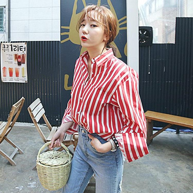 109325c3313 2019 Fresh Red Striped Blouse Long Sleeve Shirt Women Top Kawai Retro  Chemise Femme Chemisier Blusa Mujer Camicie Donna Camicia From Edwiin04