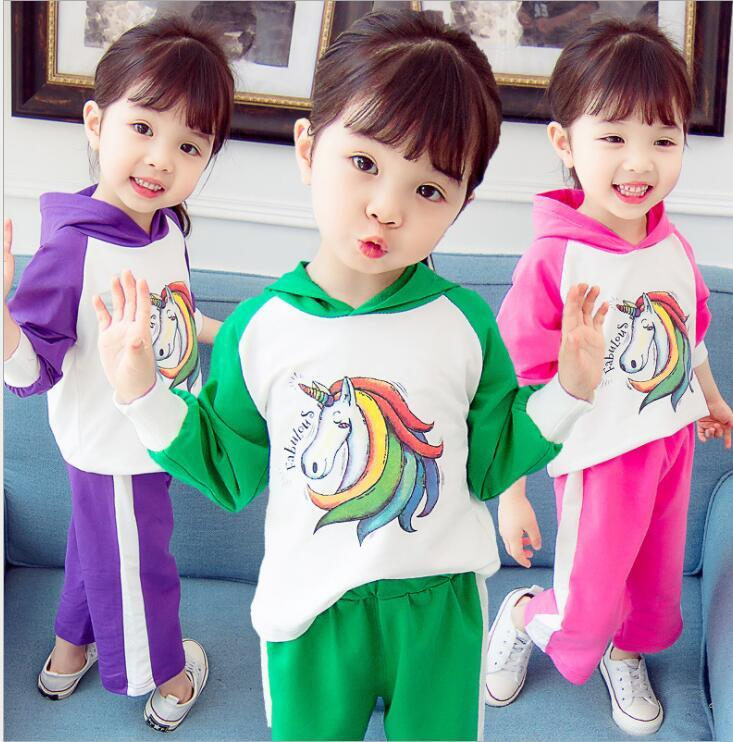 kids unicorn set Baby girls Rainbow horse outfits children t Hooded top +pants n Sports suit kids Clothing Sets KKA5739